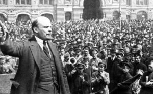 Lenin addressing vsevobuch troops on red square in moscow on may 25, 1919. (Photo by: Sovfoto/UIG via Getty Images)